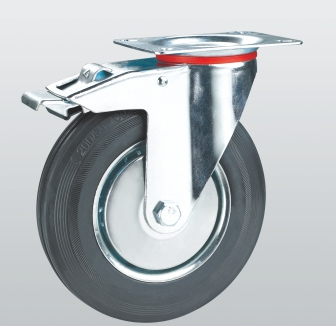 Колесо поворотное с крепежной панелью и тормозом 1004-E-200-R