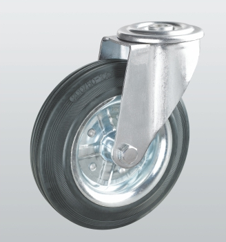 Колеса поворотные с отверстием из черной резины 1105-ST-150-R