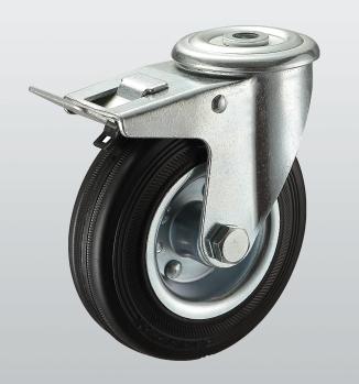 Колеса поворотные с отверстием и тормозом 1106-ST-075-R