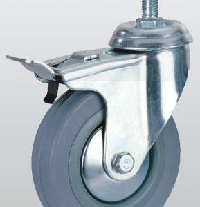 Аппаратное колесо поворотное с отверстием, тормозом и резбой 3009-S-050-P