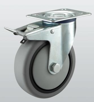 Колесо поворотное с крепежной панелью и тормозом 3204-ST-125-R
