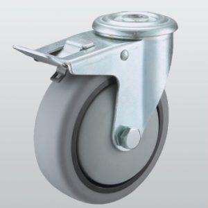 Аппаратное колесо поворотное с отверстием и тормозом 3206-ST-080-R