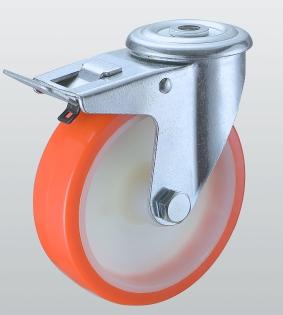 Колесо поворотное STANDART с отверстием и тормозом 4306-ST-080-R