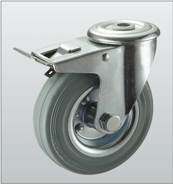 Колесо поворотное с отверстием и тормозом 1206-ST-100-R