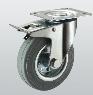 Колесо поворотное с крепежной панелью и тормозом 1504-ST-200-R