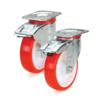 Колесо поворотное STANDART с крепежной панелью и тормозом 4204-ST-160-R