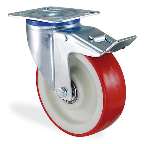 Колесо поворотное с крепежной панелью тормозом из полиамида LARGE 4104-LR-100-B