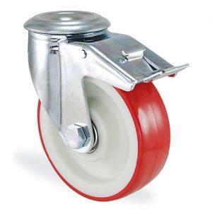 Колесо поворотное с отверствием и тормозом из полиамида 4106-ST-100-B