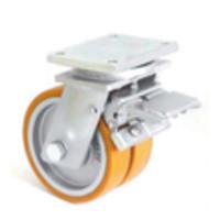 Сдвоеное большегрузное колесо из полиуритана с тормозом 4604-DSTR-251-B